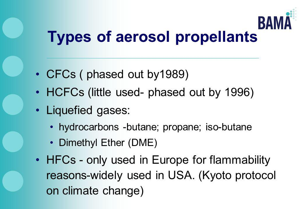 Types of aerosol propellants CFCs ( phased out by1989) HCFCs (little used- phased out by 1996) Liquefied gases: hydrocarbons -butane; propane; iso-butane Dimethyl Ether (DME) HFCs - only used in Europe for flammability reasons-widely used in USA.