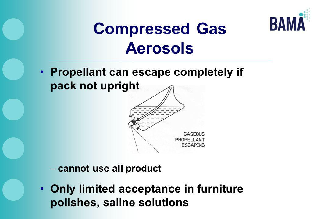 Compressed Gas Aerosols Propellant can escape completely if pack not upright –cannot use all product Only limited acceptance in furniture polishes, saline solutions