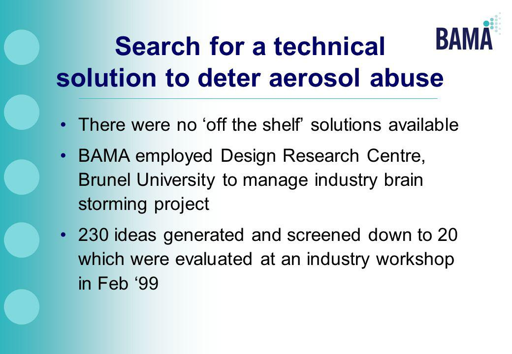 Search for a technical solution to deter aerosol abuse There were no 'off the shelf' solutions available BAMA employed Design Research Centre, Brunel University to manage industry brain storming project 230 ideas generated and screened down to 20 which were evaluated at an industry workshop in Feb '99