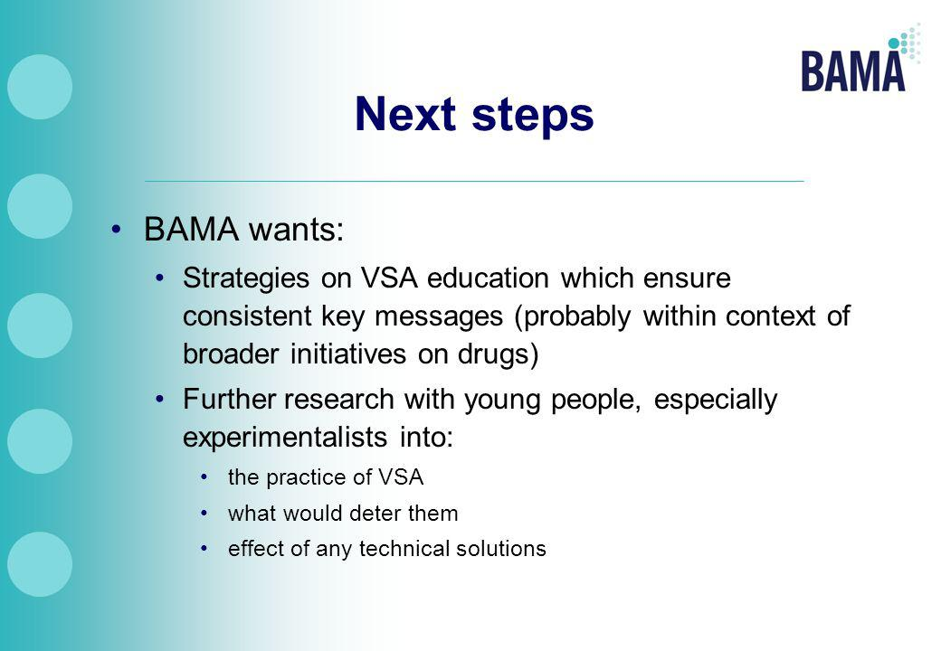 BAMA wants: Strategies on VSA education which ensure consistent key messages (probably within context of broader initiatives on drugs) Further research with young people, especially experimentalists into: the practice of VSA what would deter them effect of any technical solutions Next steps