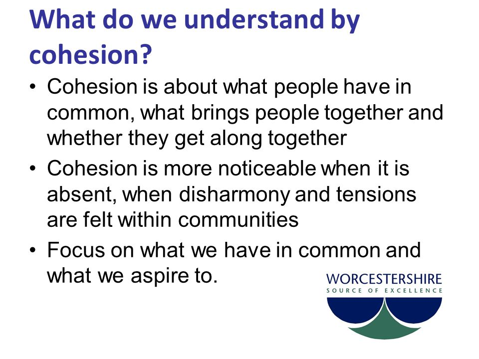 What do we understand by cohesion.
