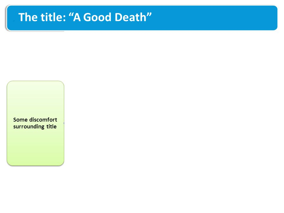 "The title: ""A Good Death"" Some discomfort surrounding title Good for general public and health / social care professionals Opens conversation, normali"