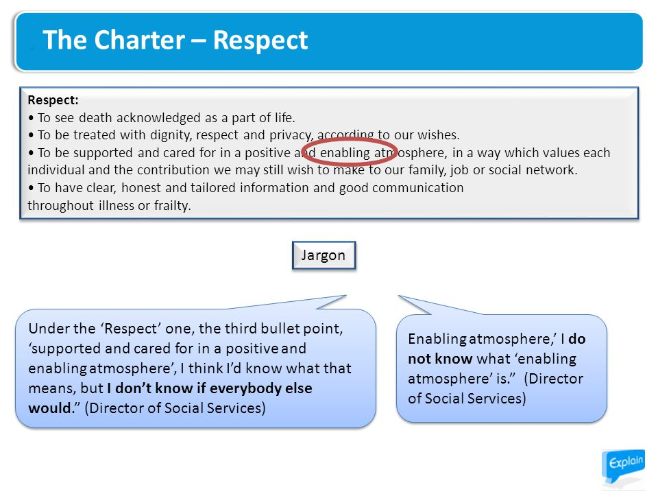 The Charter – Respect Respect: To see death acknowledged as a part of life.