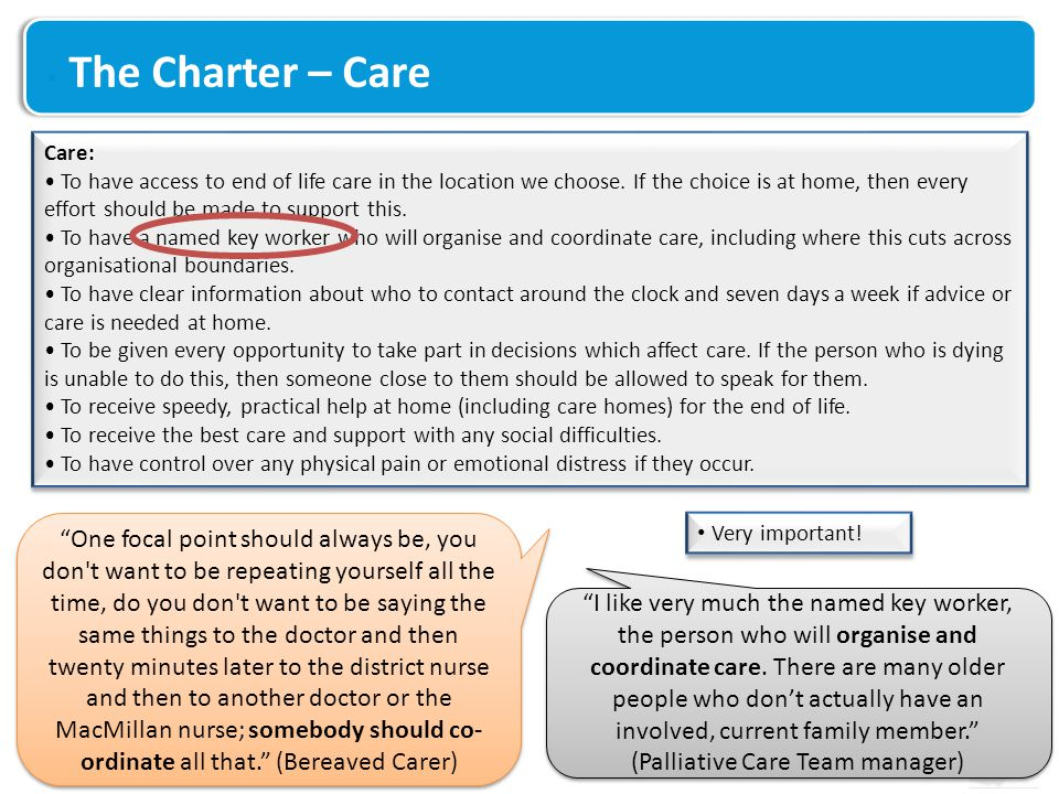 The Charter – Care Care: To have access to end of life care in the location we choose.