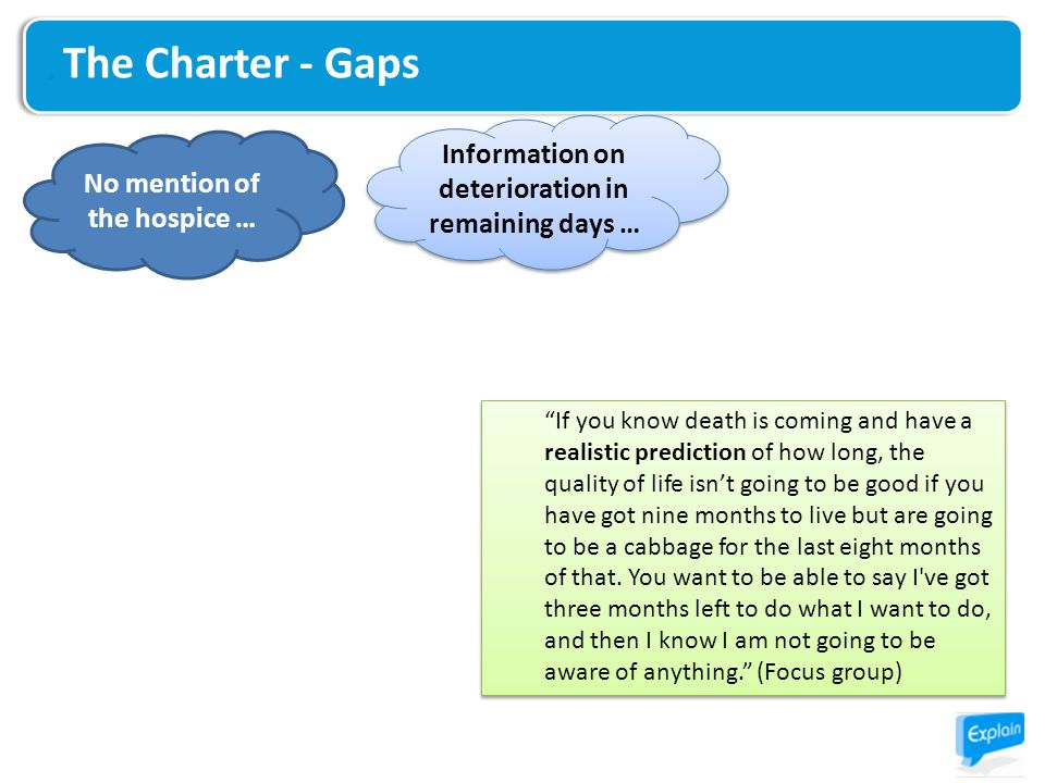 The Charter - Gaps If you know death is coming and have a realistic prediction of how long, the quality of life isn't going to be good if you have got nine months to live but are going to be a cabbage for the last eight months of that.