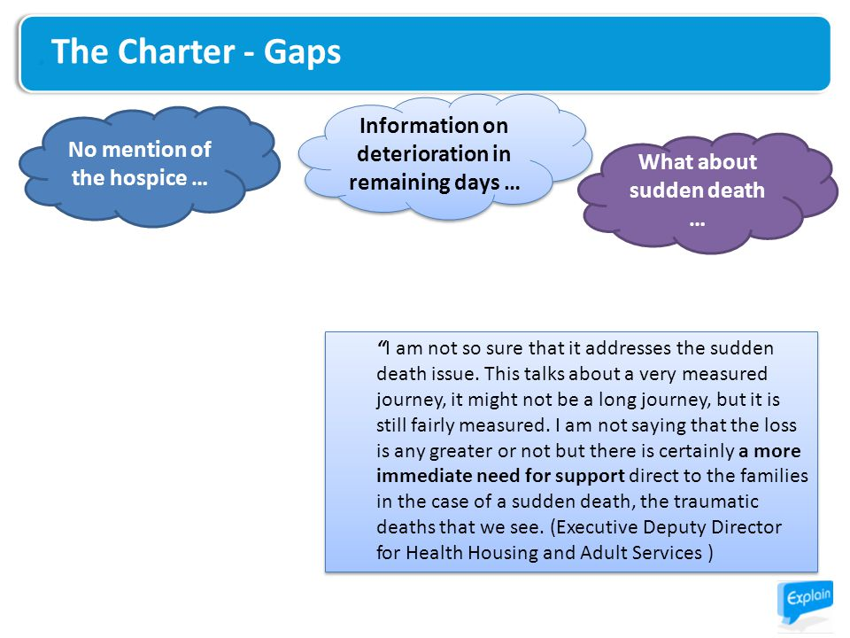 The Charter - Gaps No mention of the hospice … Information on deterioration in remaining days … What about sudden death … I am not so sure that it addresses the sudden death issue.