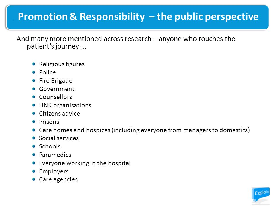 And many more mentioned across research – anyone who touches the patient's journey … Religious figures Police Fire Brigade Government Counsellors LINK organisations Citizens advice Prisons Care homes and hospices (including everyone from managers to domestics) Social services Schools Paramedics Everyone working in the hospital Employers Care agencies Promotion & Responsibility – the public perspective