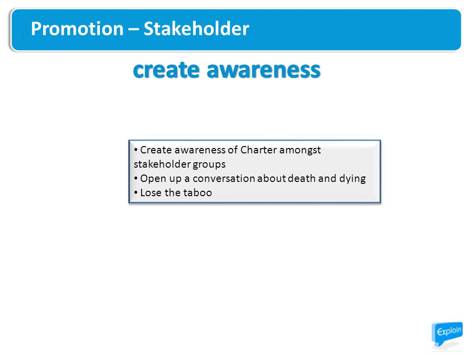 Promotion – Stakeholder Create awareness of Charter amongst stakeholder groups Open up a conversation about death and dying Lose the taboo Create awar
