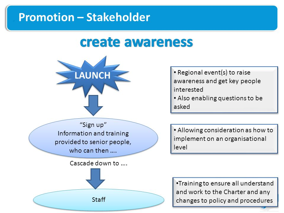 Promotion – Stakeholder LAUNCH Sign up Information and training provided to senior people, who can then ….