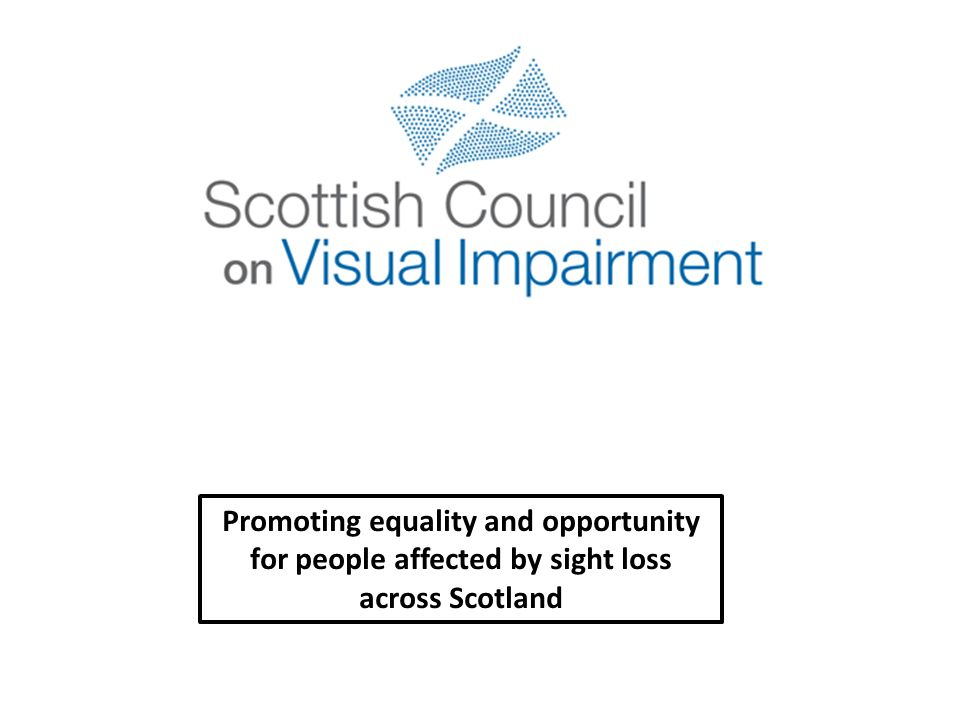 Afternoon 2.00-2.30Launch of SCOVI Robert Brown Chair of Cross Party Group on VI 2007-2011 2.30-3.30Workshop 3 (Audio-description, the Scottish perspective) – Bridget Stevens ADA Scotland Workshop 4 (More than meets the Eye – government proposals to change disability related benefits) Andrew Kaye - RNIB 3.30-3.45Coffee 3.45-4.30Keynote Speech – Inclusion and Access Richard Leaman – Guide Dogs 4.30-4.40Presidential summing up and Close