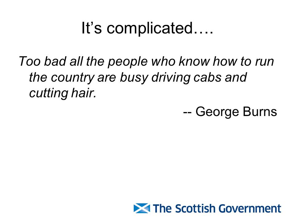 It's complicated…. Too bad all the people who know how to run the country are busy driving cabs and cutting hair. -- George Burns