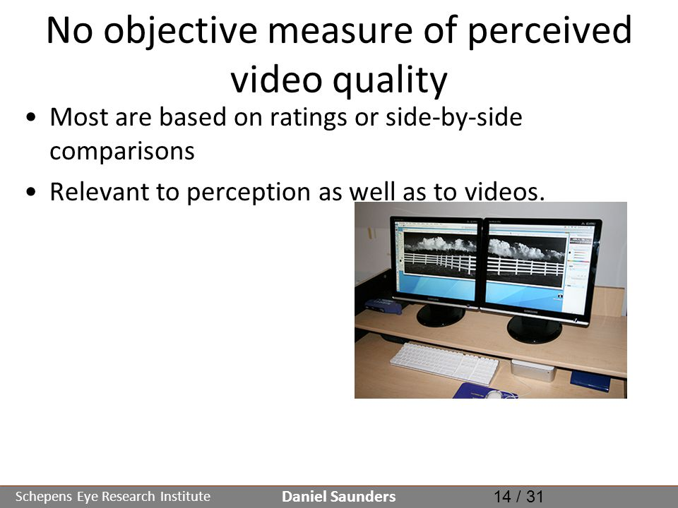 Schepens Eye Research Institute No objective measure of perceived video quality Most are based on ratings or side-by-side comparisons Relevant to perception as well as to videos.