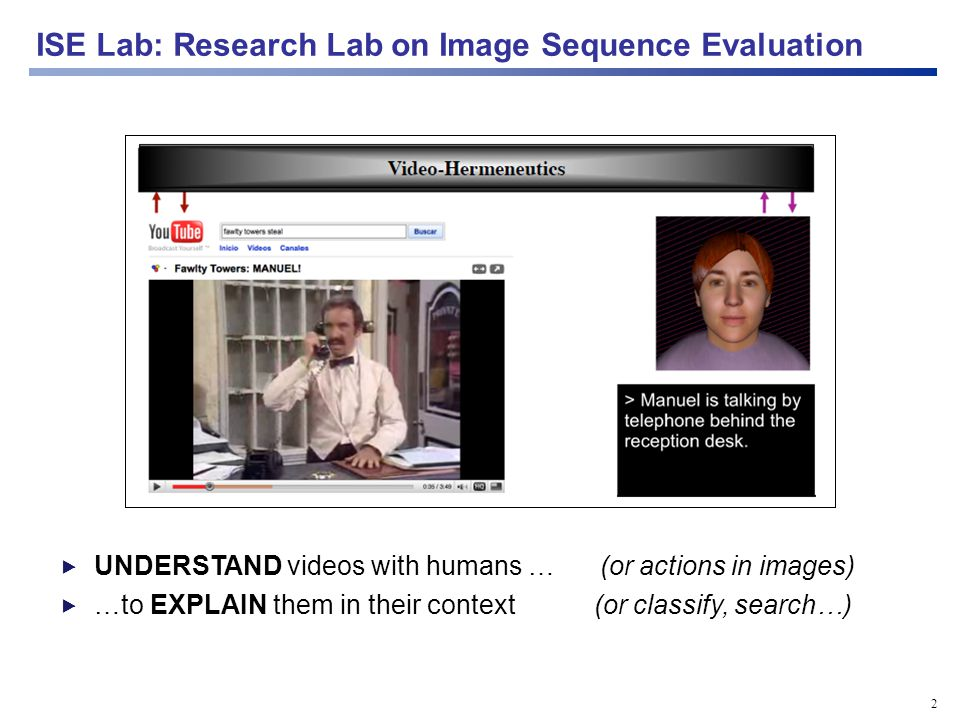 3 Detection Segmentation Agent/body/face tracking Activity recognition Scene understanding Behavior recognition Video annotation/ retrieval Augmented reality NL descriptions human horse ISE Lab: some research we do...