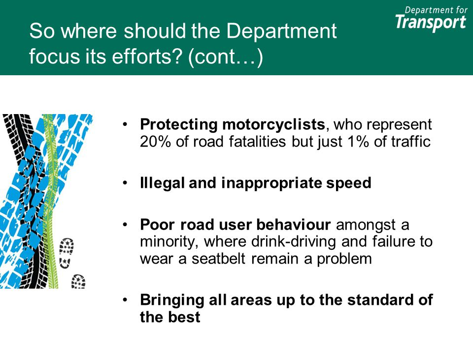 So where should the Department focus its efforts? (cont…) Protecting motorcyclists, who represent 20% of road fatalities but just 1% of traffic Illega