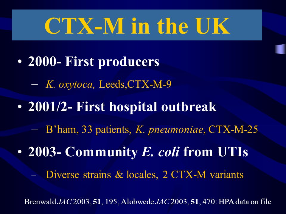 CTX-M in the UK 2000- First producers – K. oxytoca, Leeds,CTX-M-9 2001/2- First hospital outbreak – B'ham, 33 patients, K. pneumoniae, CTX-M-25 2003-
