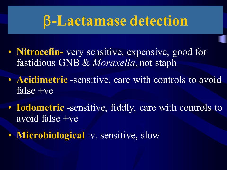  -Lactamase detection Nitrocefin- very sensitive, expensive, good for fastidious GNB & Moraxella, not staph Acidimetric -sensitive, care with control