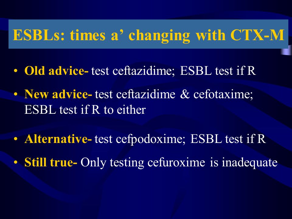 ESBLs: times a' changing with CTX-M Old advice- test ceftazidime; ESBL test if R New advice- test ceftazidime & cefotaxime; ESBL test if R to either A