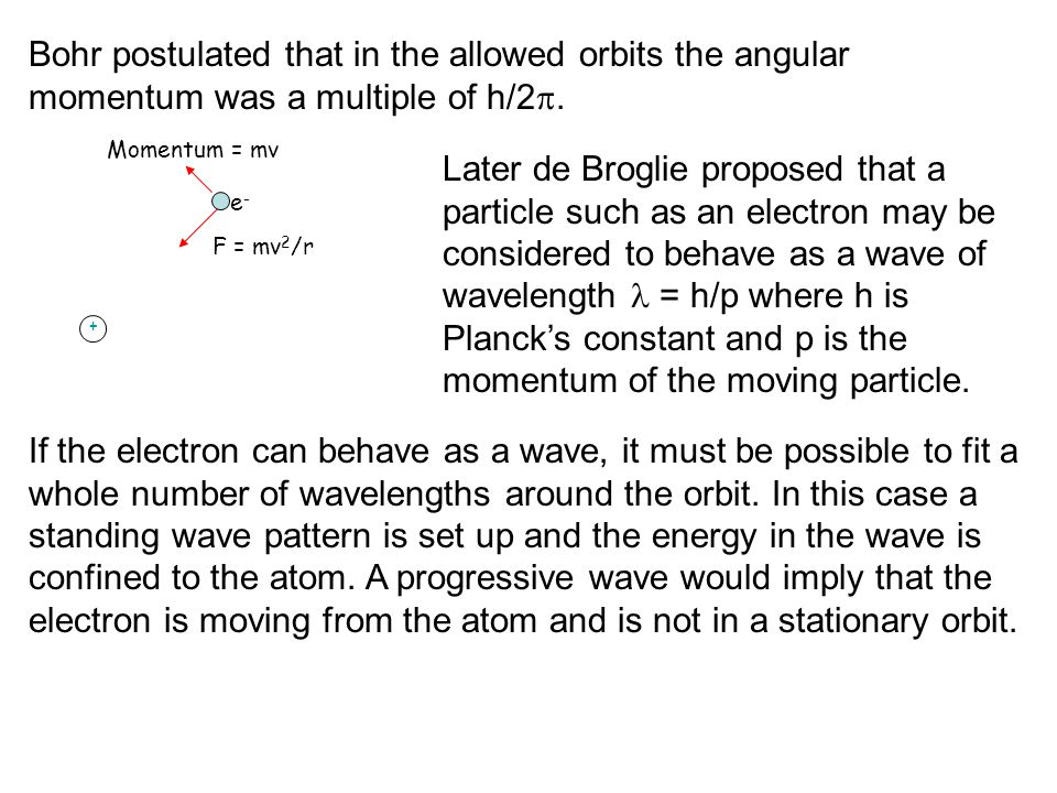 Bohr postulated that in the allowed orbits the angular momentum was a multiple of h/2 .