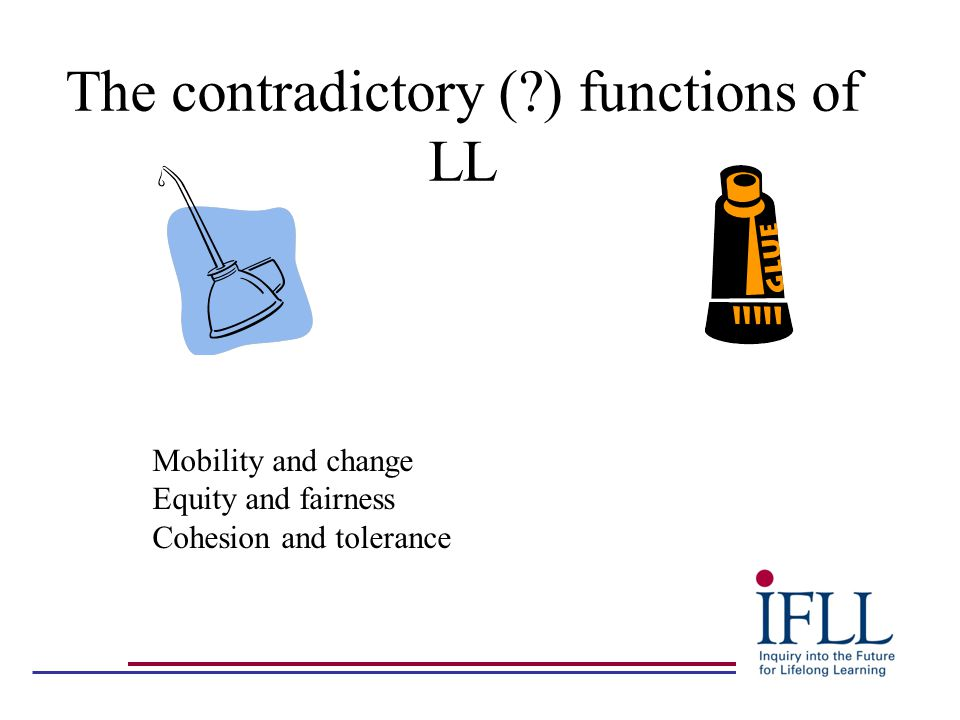 The contradictory ( ) functions of LL Mobility and change Equity and fairness Cohesion and tolerance