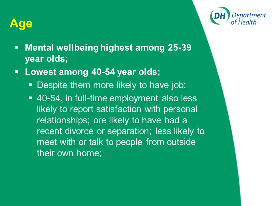 Age  Mental wellbeing highest among 25-39 year olds;  Lowest among 40-54 year olds;  Despite them more likely to have job;  40-54, in full-time employment also less likely to report satisfaction with personal relationships; ore likely to have had a recent divorce or separation; less likely to meet with or talk to people from outside their own home;