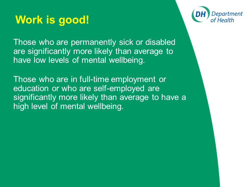Work is good! Those who are permanently sick or disabled are significantly more likely than average to have low levels of mental wellbeing. Those who
