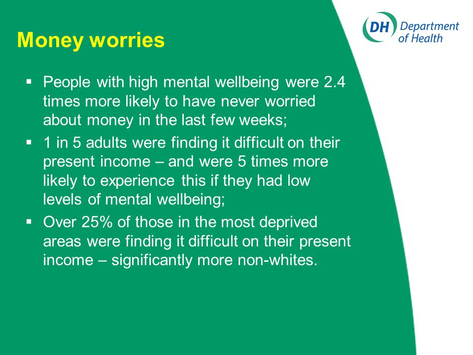 Money worries  People with high mental wellbeing were 2.4 times more likely to have never worried about money in the last few weeks;  1 in 5 adults were finding it difficult on their present income – and were 5 times more likely to experience this if they had low levels of mental wellbeing;  Over 25% of those in the most deprived areas were finding it difficult on their present income – significantly more non-whites.