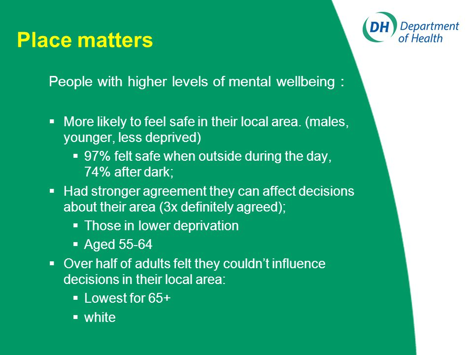 Place matters People with higher levels of mental wellbeing :  More likely to feel safe in their local area. (males, younger, less deprived)  97% fe
