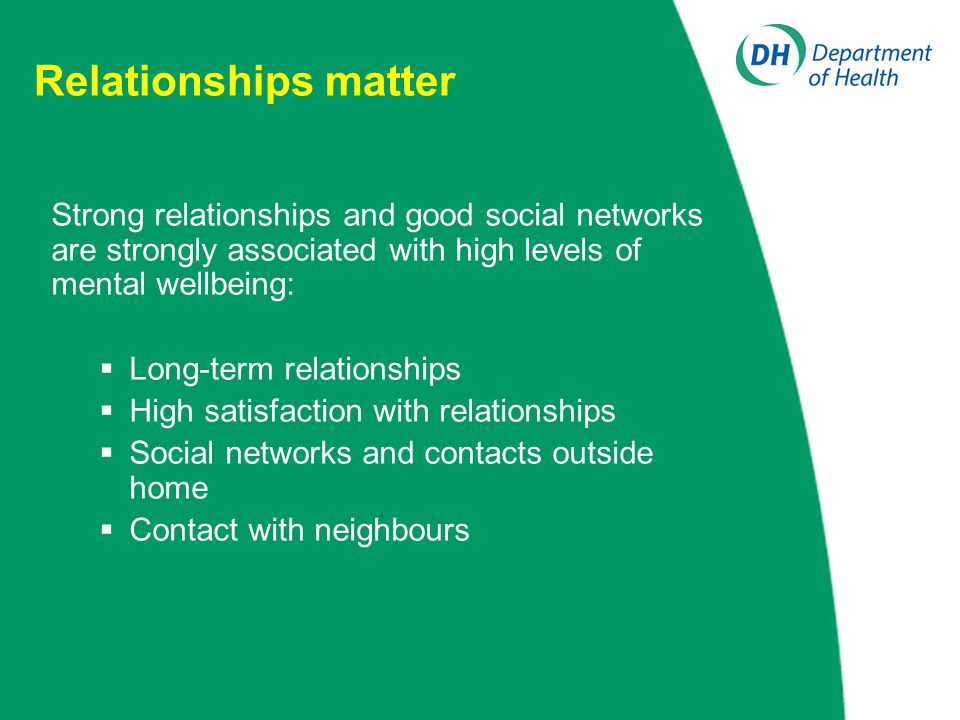 Relationships matter Strong relationships and good social networks are strongly associated with high levels of mental wellbeing:  Long-term relationships  High satisfaction with relationships  Social networks and contacts outside home  Contact with neighbours