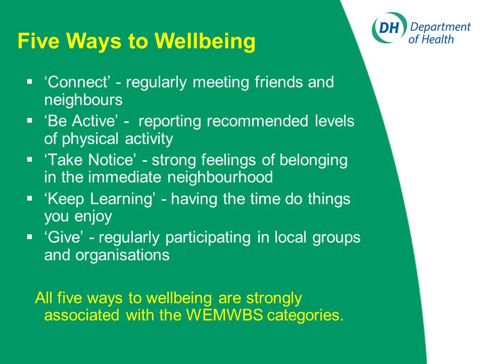Five Ways to Wellbeing  'Connect' - regularly meeting friends and neighbours  'Be Active' - reporting recommended levels of physical activity  'Tak