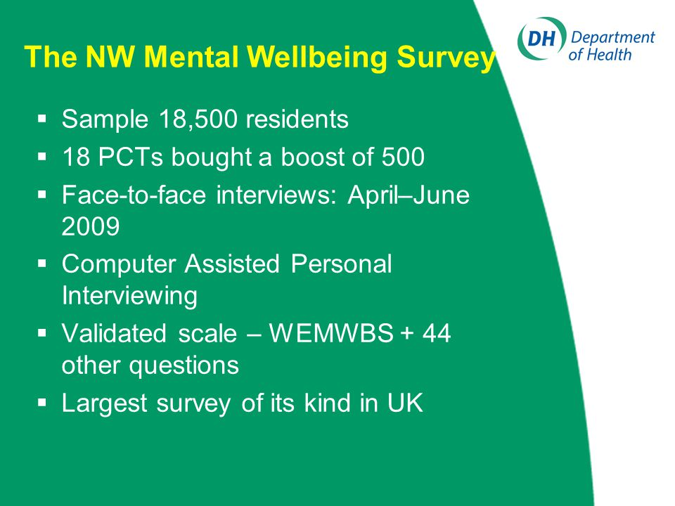 The NW Mental Wellbeing Survey  Sample 18,500 residents  18 PCTs bought a boost of 500  Face-to-face interviews: April–June 2009  Computer Assisted Personal Interviewing  Validated scale – WEMWBS + 44 other questions  Largest survey of its kind in UK