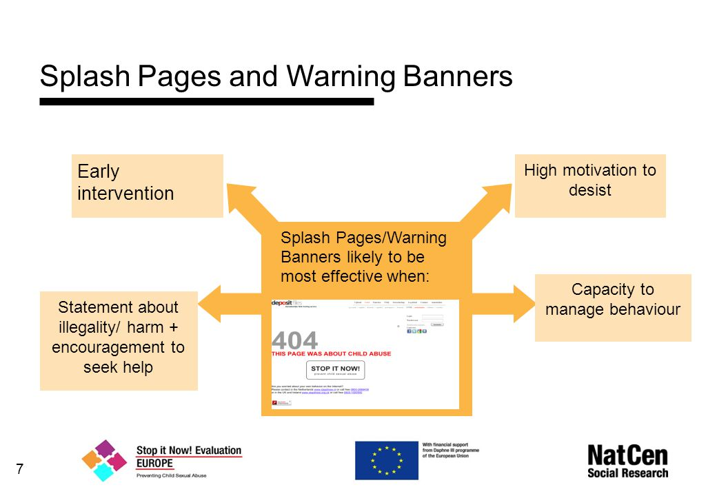 7 Splash Pages and Warning Banners Splash Pages/Warning Banners likely to be most effective when: Early intervention Capacity to manage behaviour High motivation to desist Statement about illegality/ harm + encouragement to seek help