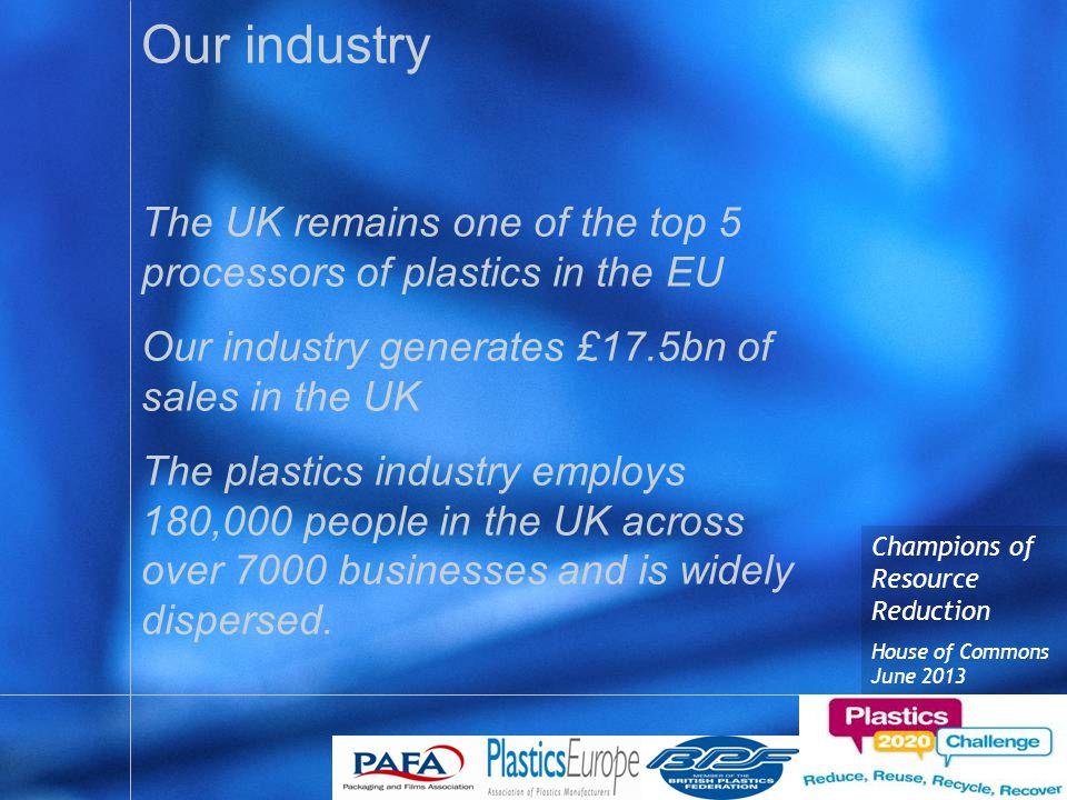 Champions of Resource Reduction House of Commons June 2013 Plastics 2020 The partners –Plastics Europe –BPF –PAFA The purpose –Help facilitate change that will divert plastics from Landfill.