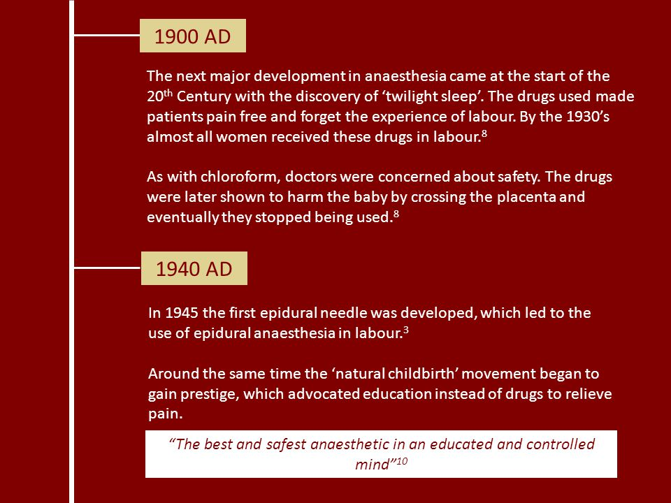 1900 AD The next major development in anaesthesia came at the start of the 20 th Century with the discovery of 'twilight sleep'. The drugs used made p