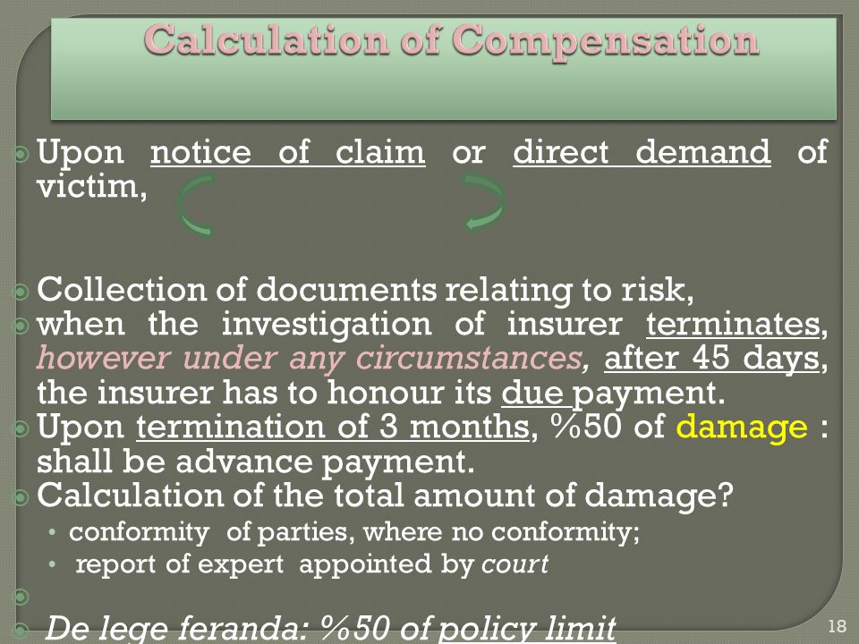 18 Calculation of Compensation Calculation of Compensation  Upon notice of claim or direct demand of victim,  Collection of documents relating to risk,  when the investigation of insurer terminates, however under any circumstances, after 45 days, the insurer has to honour its due payment.