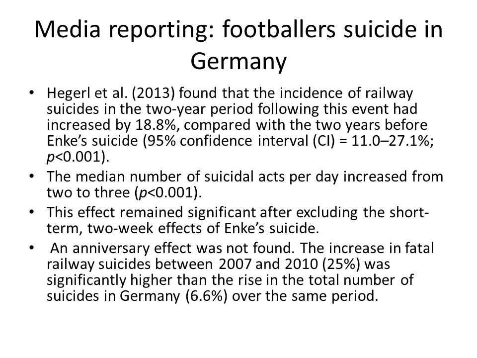 Media reporting: footballers suicide in Germany Hegerl et al.