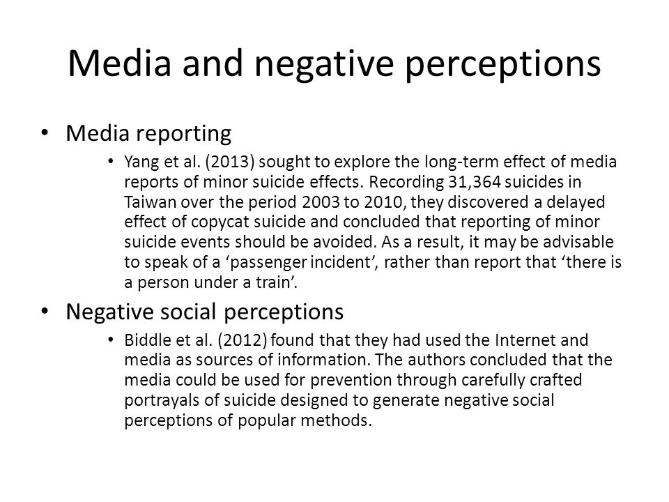 Media and negative perceptions Media reporting Yang et al.