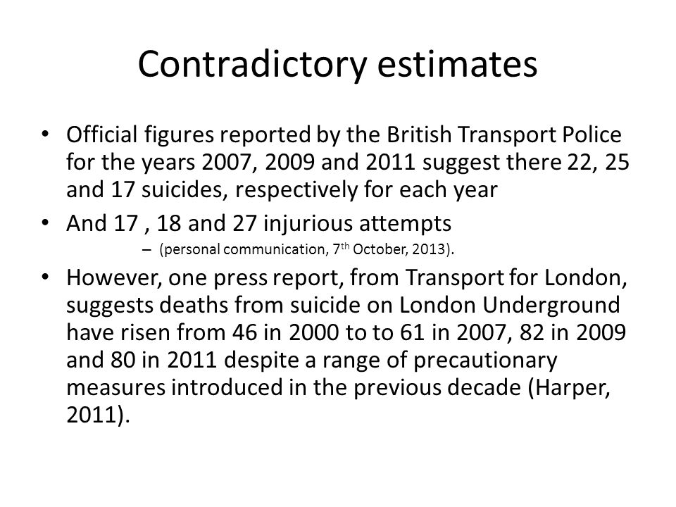 Complex behaviour Difficult to verbalise motivations Ethical concerns Suicidology: extensive epidemiology exists National Confidential Inquiry Preventive interventions target high risk groups Railway suicides, no standard data collection or preventive actions from NHS?