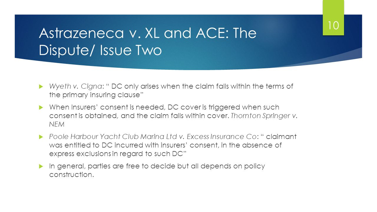 Astrazeneca v. XL and ACE: The Dispute/ Issue Two  Wyeth v.
