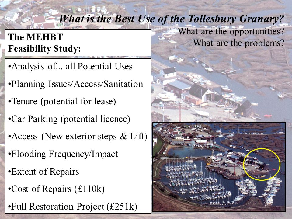 What is the Best Use of the Tollesbury Granary? What are the opportunities? What are the problems? The MEHBT Feasibility Study: Cost £6200 Grateful to