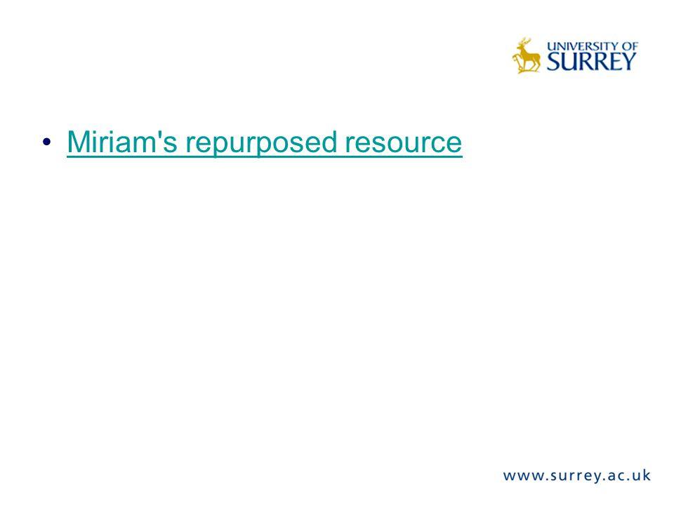 Miriam s repurposed resource