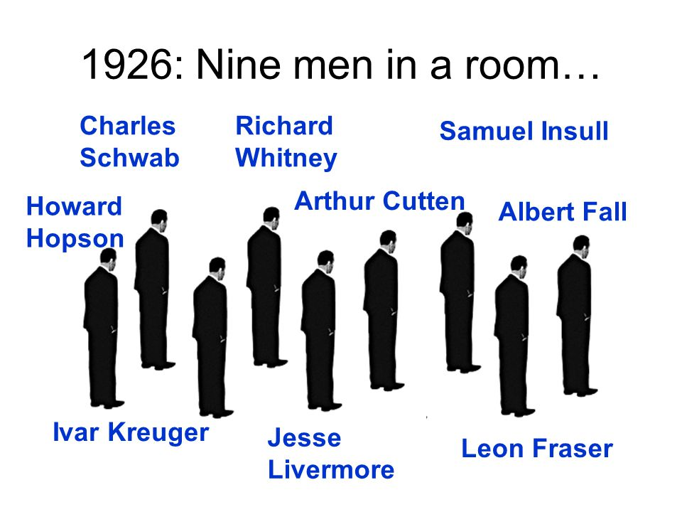 1926: Nine men in a room… Charles Schwab Howard Hopson Richard Whitney Arthur Cutten Jesse Livermore Albert Fall Ivar Kreuger Leon Fraser Samuel Insull