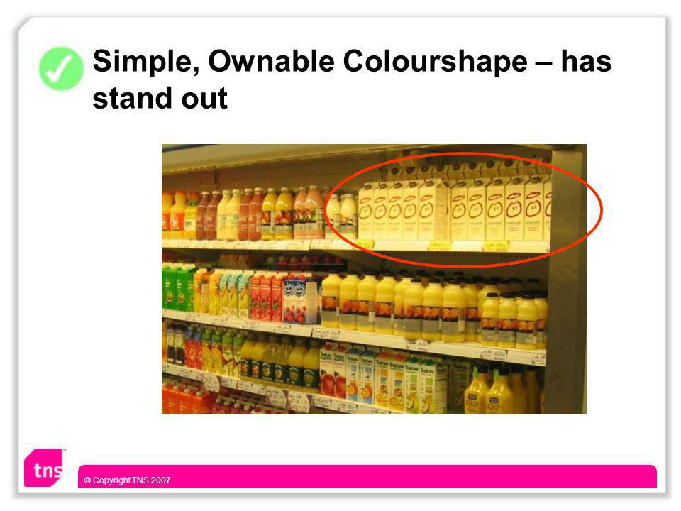 © Copyright TNS 2007 Simple, Ownable Colourshape – has stand out