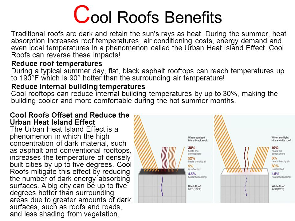 C ool Roofs Benefits Traditional roofs are dark and retain the sun s rays as heat.