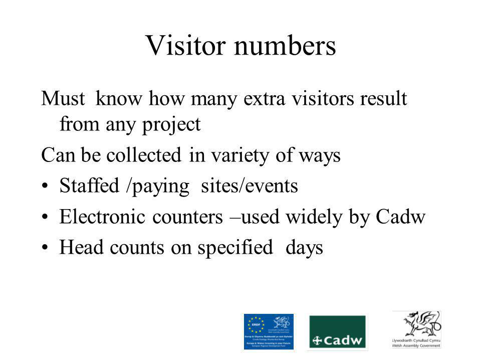 Visitor surveys –sample numbers Most of jobs created by project will be indirect Can only calculate wider economic impact through survey Survey numbers significantly reduced overall through joint E4G approach