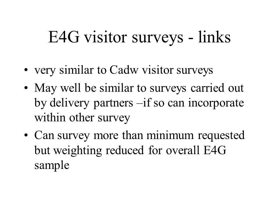 E4G visitor surveys - links very similar to Cadw visitor surveys May well be similar to surveys carried out by delivery partners –if so can incorporat