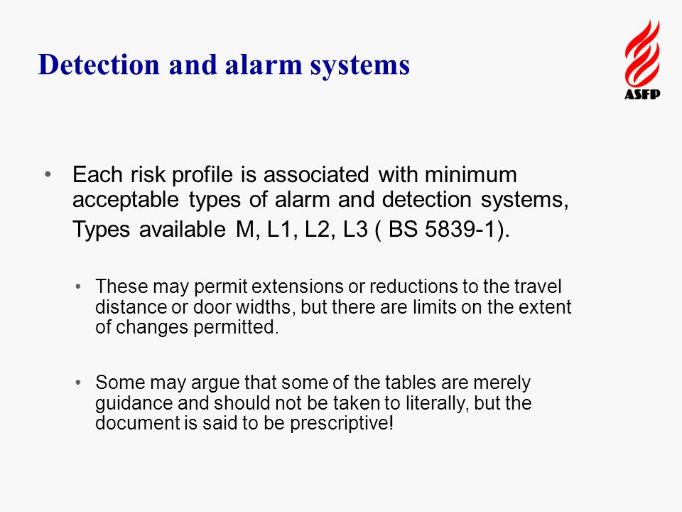 Detection and alarm systems Each risk profile is associated with minimum acceptable types of alarm and detection systems, Types available M, L1, L2, L3 ( BS 5839-1).