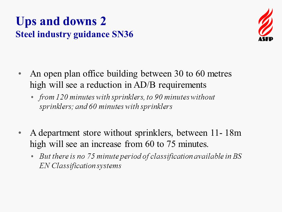 Ups and downs 2 Steel industry guidance SN36 An open plan office building between 30 to 60 metres high will see a reduction in AD/B requirements from 120 minutes with sprinklers, to 90 minutes without sprinklers; and 60 minutes with sprinklers A department store without sprinklers, between 11- 18m high will see an increase from 60 to 75 minutes.