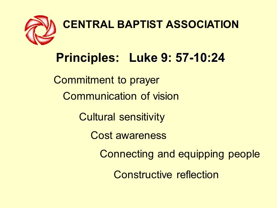 CENTRAL BAPTIST ASSOCIATION Luke 9: 57-10:24 Principles: Luke 9: 57-10:24 Commitment to prayer Communication of vision Cultural sensitivity Cost awareness Connecting and equipping people Constructive reflection