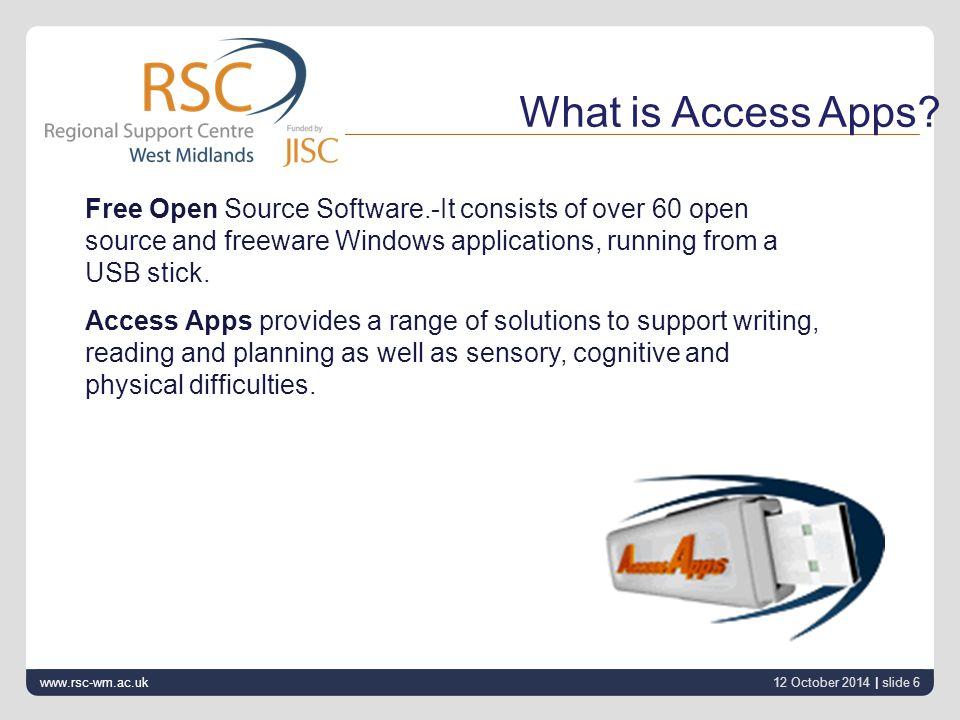 12 October 2014 | slide 7 www.rsc-wm.ac.uk Intended to make the learner independent.