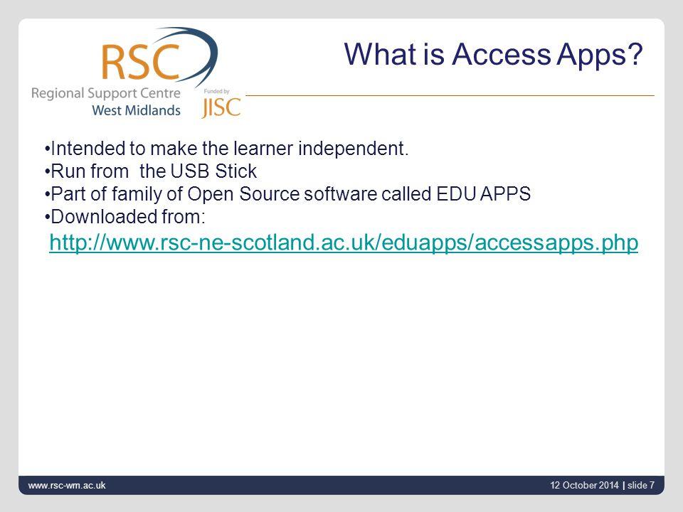 12 October 2014 | slide 8 www.rsc-wm.ac.uk Making Learning Easier